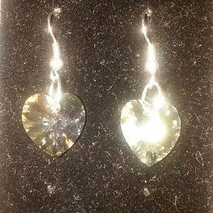 Clear Swarovski heart earrings